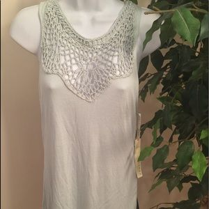 Kenar Seafoam Green Crochet Detail Tank Top